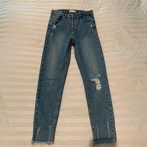 Zara kids denim blue skinny jeans high rise